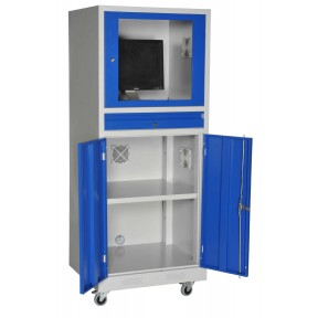 Vue d'ensemble de l'armoire informatique mobile portes ouvertes partie basse