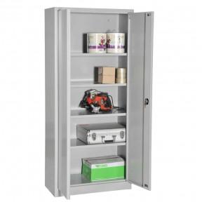 Vue d'ensemble de  l'armoire portes battantes H195cm gamme budget portes ouvertes avec accessoires