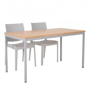 Table multi-usages plateau hêtre piétements gris mise en situation