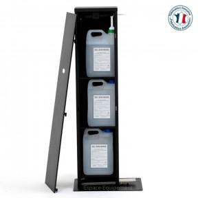 distributeur de gel hydroalcoolique vue de côté avec 3 bidons de 5 litres