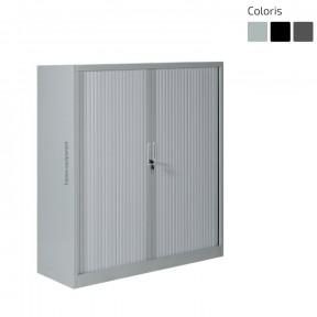 Armoire à rideaux métallique H 105 x L 120 x P 46 cm gris porte fermée
