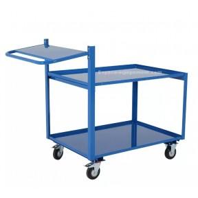 Vue d'ensemble du chariot préparateur de commande900 x 500 mm en acier plié finition peinture époxy bleue