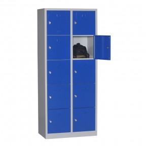Vue d'ensemble du vestiaire multi cases 10 cases ouvert avec accessoires