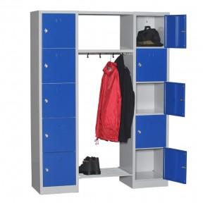 Vue d'ensemble du casier vestiaire penderie 10 cases ouvert avec accessoires