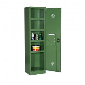 Vue d'ensemble de l'armoire phytosanitaire L50cm porte ouverte avec accessoires