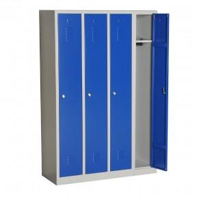 Vue d'ensemble du vestiaire propre à monter 4 cases porte ouverte sans accessoires